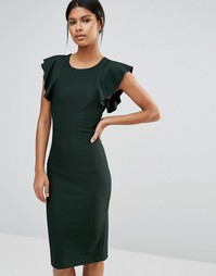 Платье миди с рукавами-оборками Y.A.S Alice - Scarab green