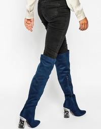 Ботфорты на каблуке с отделкой Daisy Street - Темно-синий мотив