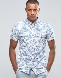 Рубашка узкого кроя с короткими рукавами и цветочным принтом Blend