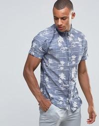 Рубашка узкого кроя с короткими рукавами и гавайским принтом Blend