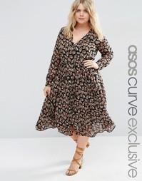 Платье миди с пуговицами и длинными рукавами ASOS CURVE - Мульти