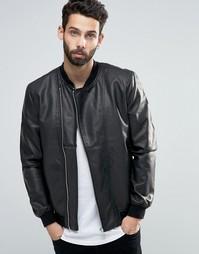 Куртка-пилот из искусственной кожи с асимметричной молнией Only & Sons
