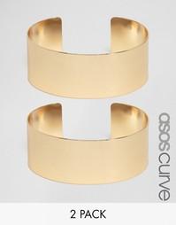 2 браслета-манжета в минималистском стиле ASOS CURVE - Золотой