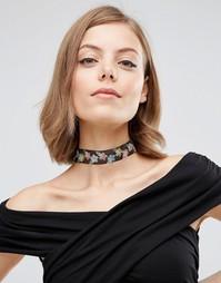 Тканое ожерелье-чокер с цветочной отделкой ASOS - Мульти