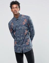 Рубашка слим с принтом Devils Advocate - Темно-синий