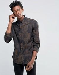 Рубашка слим с принтом Devils Advocate - Черный