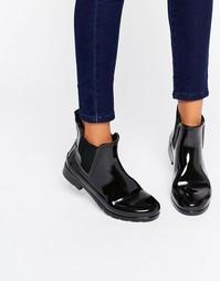 Черные блестящие резиновые ботинки челси Hunter Original - Черный