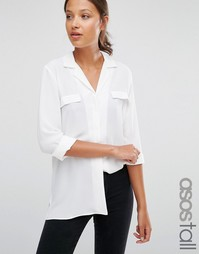 Однотонная блузка в пижамном стиле с карманом ASOS TALL