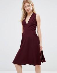 Платье с отделкой рюшами на карманах Alter - Burgandy