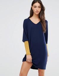 Платье-джемпер с контрастными рукавами Traffic People Joe