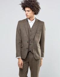 Коричневый пиджак в клетку из шерсти и кашемира Feraud Heritage Premiu