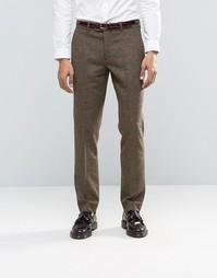 Коричневые брюки в клетку из шерсти и кашемира Feraud Heritage Premium