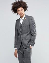 Шерстяной пиджак в клетку Feraud Heritage - Серый