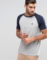 Серо-синяя футболка с контрастными рукавами и логотипом ASOS