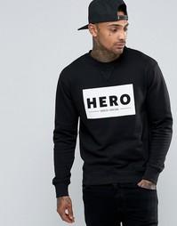 Свитшот с большим логотипом Heros Heroine - Черный