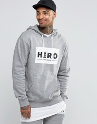 Худи с крупным логотипом Heros Heroine - Серый