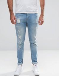 Рваные облегающие джинсы Hoxton Denim - Синий