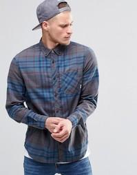 Фланелевая рубашка в клетку песочного и серого цвета с воротником на п Element