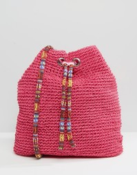 Мешковатая соломенная сумка на плечо South Beach - Розовый