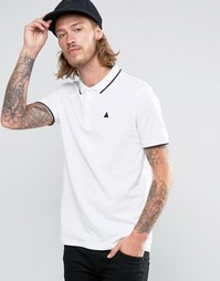 Белая футболка-поло из ткани пике с контрастной отделкой и логотипом A Asos