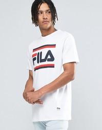 Черная футболка с логотипом Fila - Белый