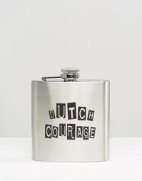 Плоская фляжка Dutch Courage - Серебряный Gifts