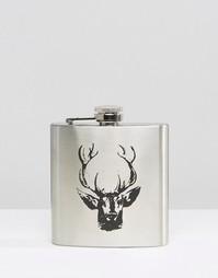 Плоская фляжка Stag - Серебряный Gifts
