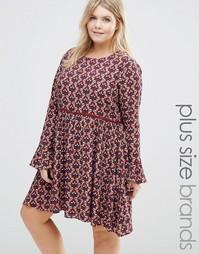 Короткое приталенное платье с длинными рукавами и принтом Alice & You