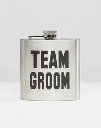 Плоская фляжка Team Groom - Серебряный Gifts