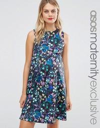 Короткое приталенное платье для беременных с цветочным принтом ASOS Ma