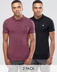 ASOS 2 Pack Muscle Polo Shirt In Conker And Black - Мульти