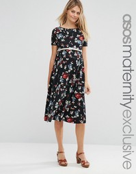 ASOS Maternity Floral Belted Midi Dress - Black base floral