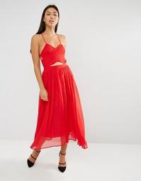 Платье миди с запахом и шнуровкой Lavish Alice - Красный