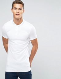 ASOS Longline Muscle Polo Shirt In White - Белый