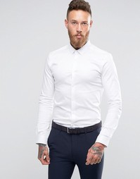 ASOS Skinny Shirt In Sateen With Long Sleeves - Белый