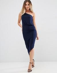 Платье-футляр на одно плечо с золотистой застежкой Jessica Wright