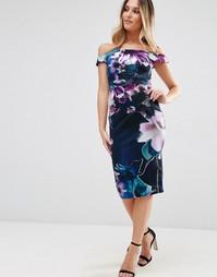 Платье-футляр миди со спущенными плечами и цветочным принтом Jessica W