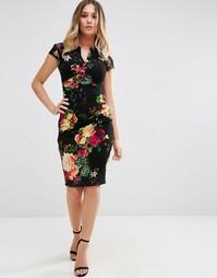 Платье-футляр с V-образным вырезом и цветочным принтом Jessica Wright