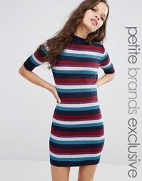 Полосатое трикотажное платье миди в рубчик Glamorous Petite - Мульти
