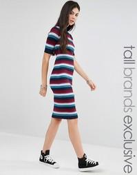 Полосатое вязаное платье в рубчик Glamorous Tall - Мульти