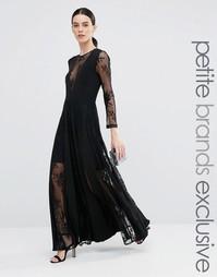 Кружевное плиссированное платье макси True Decadence Petite - Черный