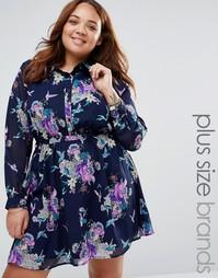 Короткое приталенное платье-рубашка с цветочным принтом Yumi Plus