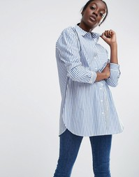 ASOS Oversized Smart Cotton Shirt in Stripe with Curved Hem - Мульти