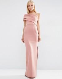 Платье макси на одно плечо с броской молнией ASOS - Mink