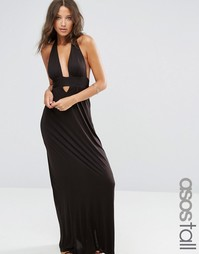 ASOS TALL Jersey Halter Maxi Beach Dress - Черный