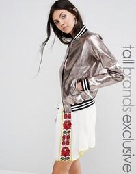 Куртка-пилот цвета металлик Glamorous Tall - Серебряный