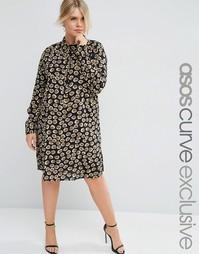 Платье-рубашка с животным принтом ASOS CURVE - Мульти