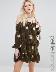 Платье с цветочным принтом Glamorous Petite - Хаки
