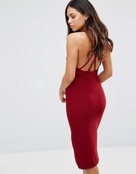 Платье миди с перекрестом сзади Oh My Love - Wine