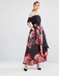 Юбка с цветочным принтом и завязками Coast Maiden - Мульти